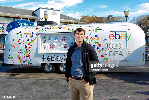Hal Lawton stands in front of eBay's 20th anniversary Airstream at Fisherman's Wharf on September 10 2015 in San Francisco California
