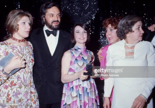 Hal Linden, Helen Gallagher, Maureen Stapleton attending the 1971 / 25th Tony Awards, Palace Theatre.