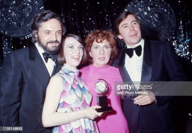 Hal Linden, Helen Gallagher, Maureen Stapleton, Brian Bedford attending the 1971 / 25th Tony Awards, Palace Theatre.