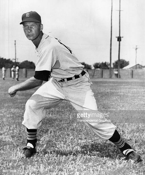 EVANSVILLE INDIANA MARCH 1943 Hal Newhouser star lefthander for the Detroit Tigers works out at the team's spring training facility at Evansville...