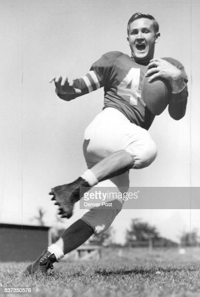 Hal Pfeifer, all-conference halfback in 1949 with the University of Denver Pioneers, will be hustling all of his 168 pounds toward Drake's goal line...