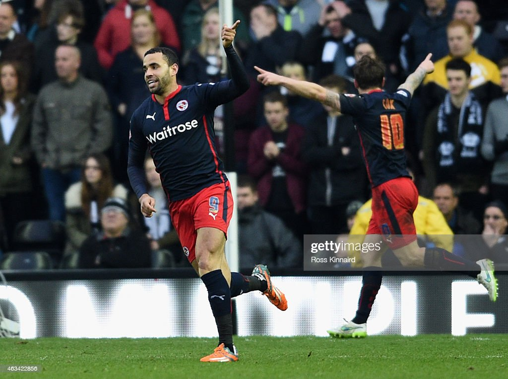 Hal Robson-Kanu of Reading (9) celebrates as he score their first goal during the FA Cup Fifth Round match between Derby County and Reading at iPro Stadium on February 14, 2015 in Derby, England.