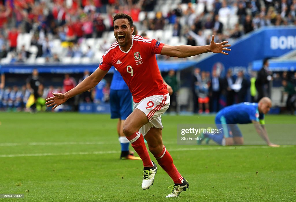 Hal Robson-Kanu of Wales celebrates scoring his team's second goal during the UEFA EURO 2016 Group B match between Wales and Slovakia at Stade Matmut Atlantique on June 11, 2016 in Bordeaux, France.