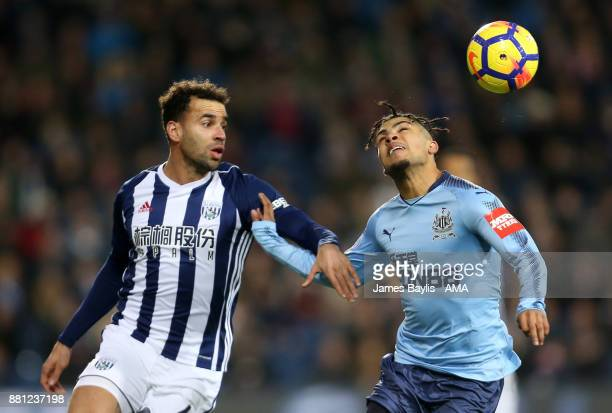 Hal RobsonKanu of West Bromwich Albion and DeAndre Yedlin of Newcastle United during the Premier League match between West Bromwich Albion and...