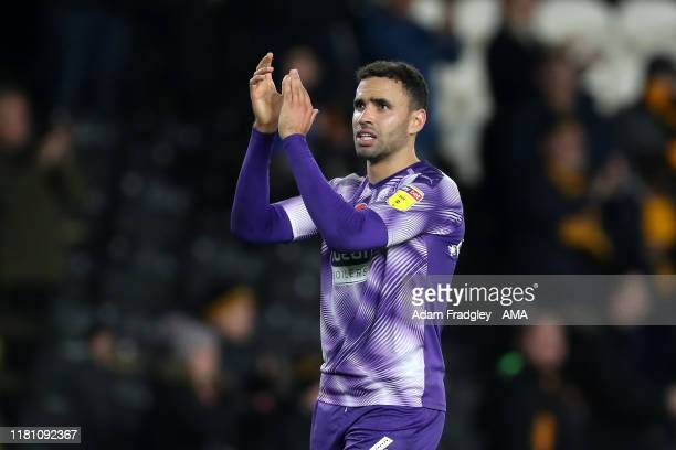 Hal Robson-Kanu of West Bromwich Albion applauds the travelling fans at the end of the match during the Sky Bet Championship match between Hull City...