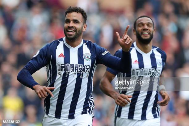 Hal RobsonKanu of West Bromwich Albion celebrates after he scores the only goal of the game during the Premier League match between Burnley and West...