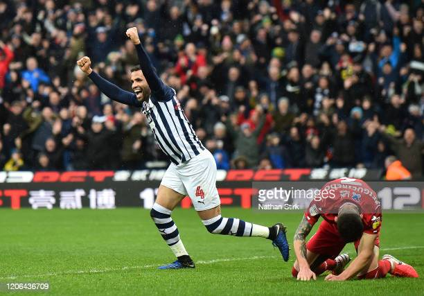 Hal Robson-Kanu of West Bromwich Albion celebrates after his team's second goal, an own goal by Tobias Pereira Figueiredo of Nottingham Forest during...