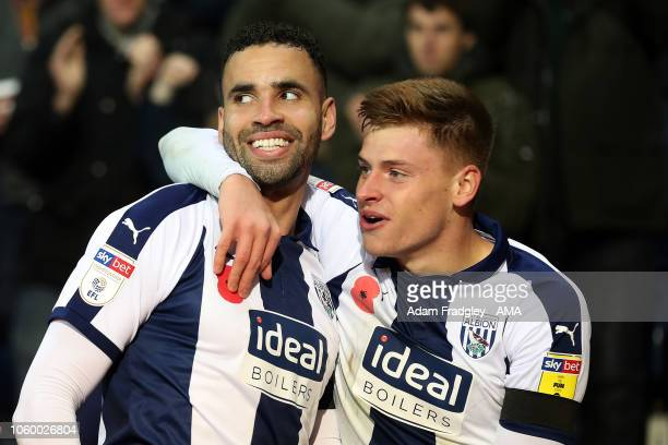 Hal RobsonKanu of West Bromwich Albion celebrates after scoring a goal to make it 10 with Harvey Barnes of West Bromwich Albion during the Sky Bet...