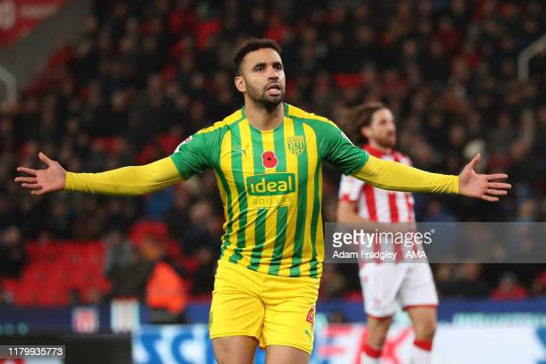 Hal RobsonKanu of West Bromwich Albion celebrates after scoring a goal to make it 02 from the penalty spot during the Sky Bet Championship match...