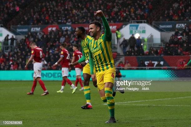 Hal RobsonKanu of West Bromwich Albion celebrates after scoring a goal to make it 02 during the Sky Bet Championship match between Bristol City and...