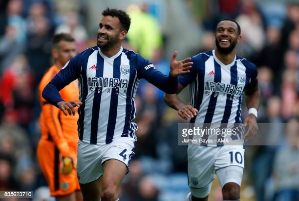 Hal RobsonKanu of West Bromwich Albion celebrates after scoring a goal to make it 01 during the Premier League match between Burnley and West...