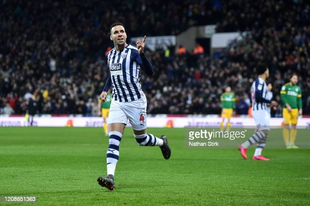 Hal Robson-Kanu of West Bromwich Albion celebrates after scoring his team's first goal during the Sky Bet Championship match between West Bromwich...