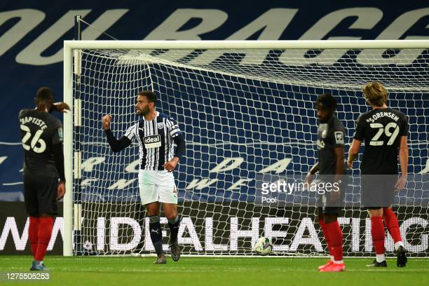 Hal Robson-Kanu of West Bromwich Albion celebrates after scoring his sides first goal during the Carabao Cup Third Round match between West Bromwich...