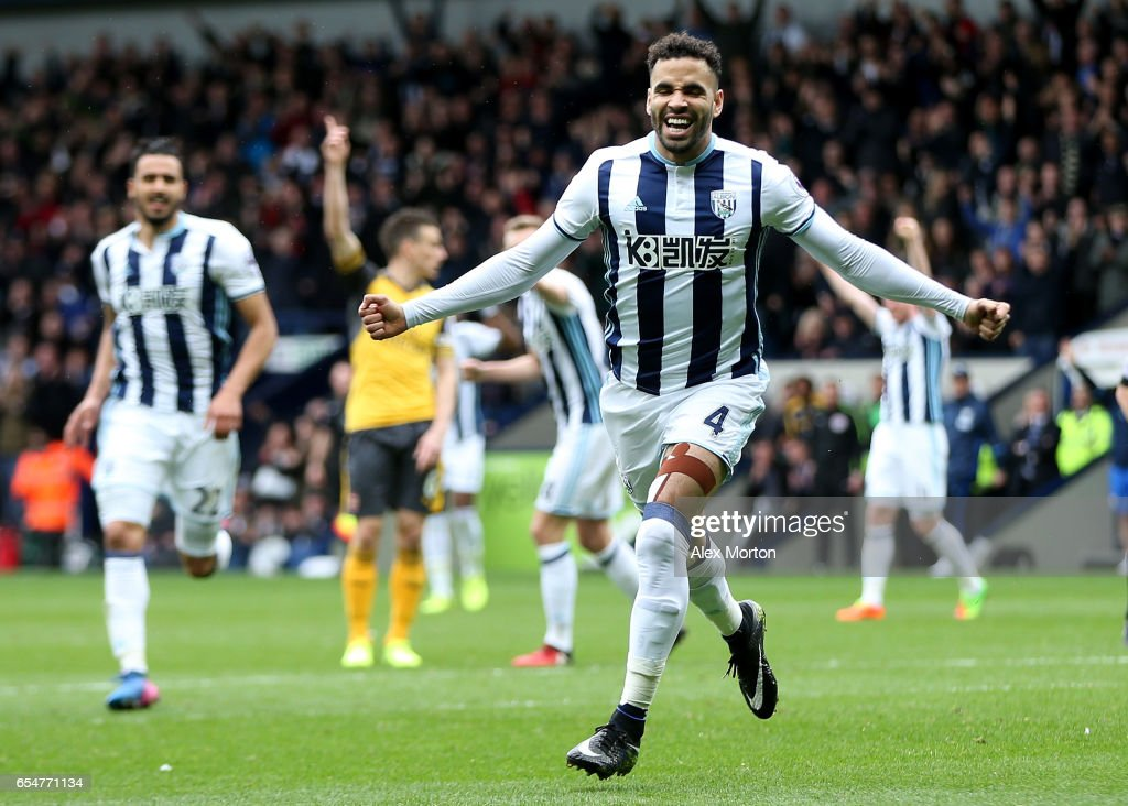 Hal Robson-Kanu of West Bromwich Albion celebrates scoring his sides second goal during the Premier League match between West Bromwich Albion and Arsenal at The Hawthorns on March 18, 2017 in West Bromwich, England.
