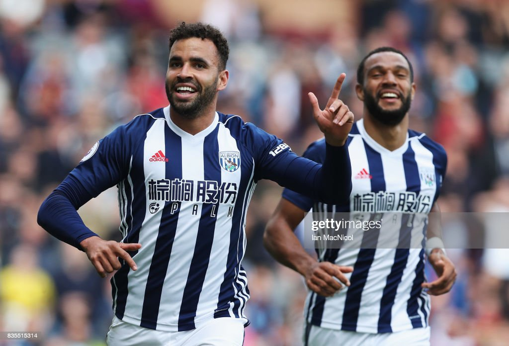 Hal Robson-Kanu of West Bromwich Albion celebrates scoring his sides first goal during the Premier League match between Burnley and West Bromwich Albion at Turf Moor on August 19, 2017 in Burnley, England.