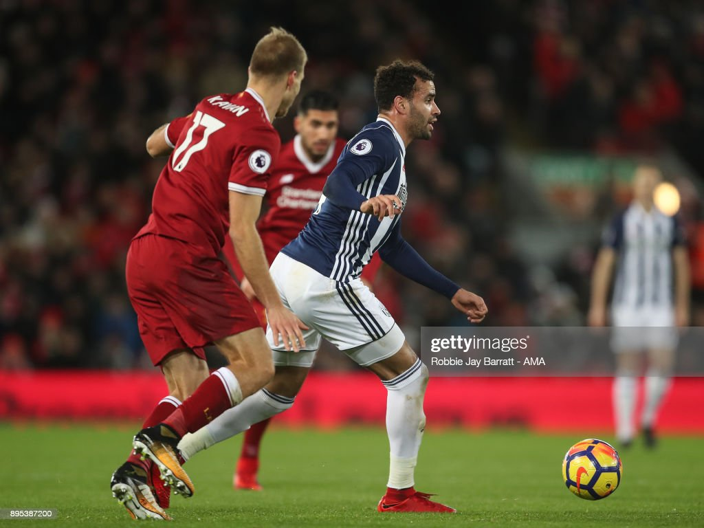 Hal Robson-Kanu of West Bromwich Albion during the Premier League match between Liverpool and West Bromwich Albion at Anfield on December 13, 2017 in Liverpool, England.