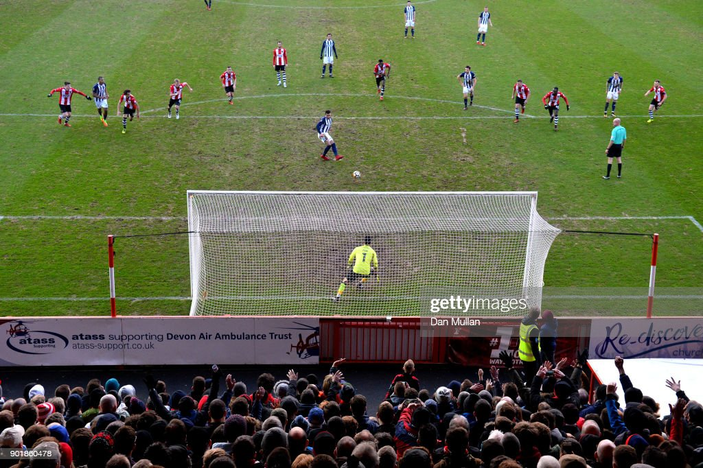 Hal Robson-Kanu of West Bromwich Albion fails to score from the penalty spot during The Emirates FA Cup Third Round match between Exeter City and West Bromwich Albion at St James Park on January 6, 2018 in Exeter, England.