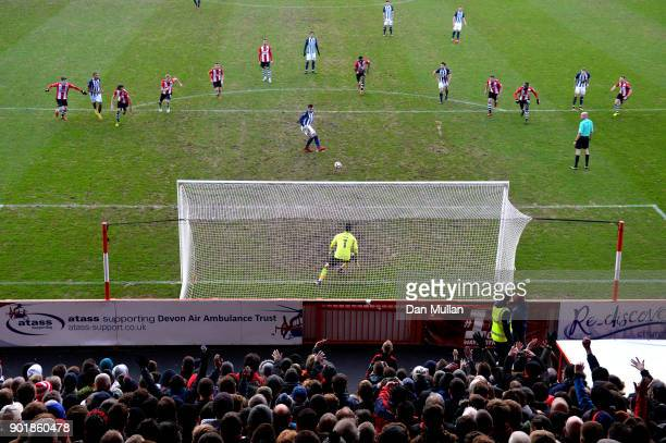 Hal RobsonKanu of West Bromwich Albion fails to score from the penalty spot during The Emirates FA Cup Third Round match between Exeter City and West...