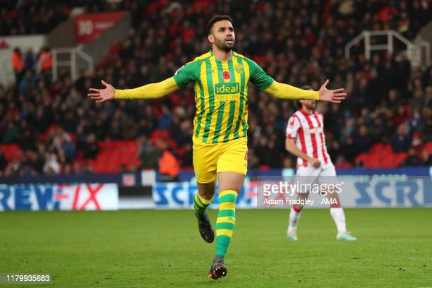Hal RobsonKanu of West Bromwich Albion scores a goal to make it 02 from the penalty spot during the Sky Bet Championship match between Stoke City and...