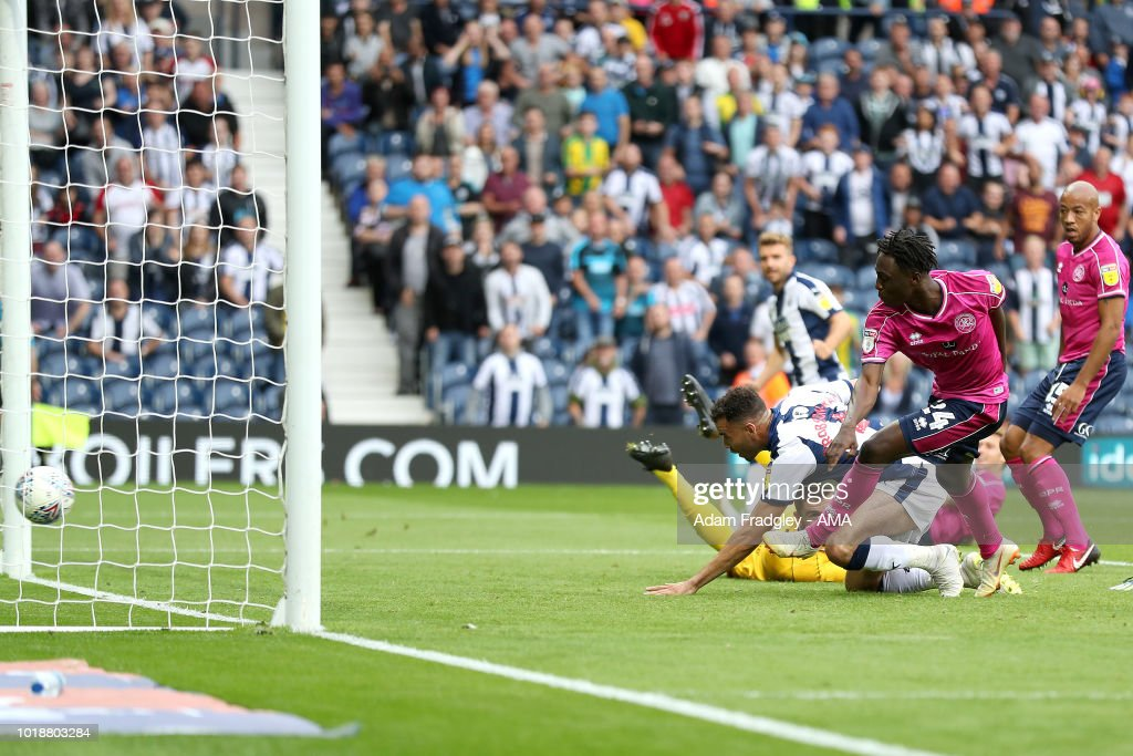 Hal Robson-Kanu of West Bromwich Albion scores a goal to make it 7-1 during the Sky Bet Championship match between West Bromwich Albion and Queens Park Rangers at The Hawthorns on August 18, 2018 in West Bromwich, England.