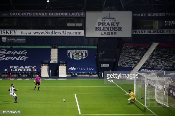 Hal Robson-Kanu of West Bromwich Albion scores his sides first goal during the Carabao Cup Third Round match between West Bromwich Albion and...