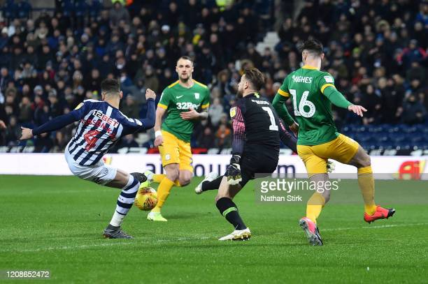 Hal Robson-Kanu of West Bromwich Albion scores his team's first goal during the Sky Bet Championship match between West Bromwich Albion and Preston...