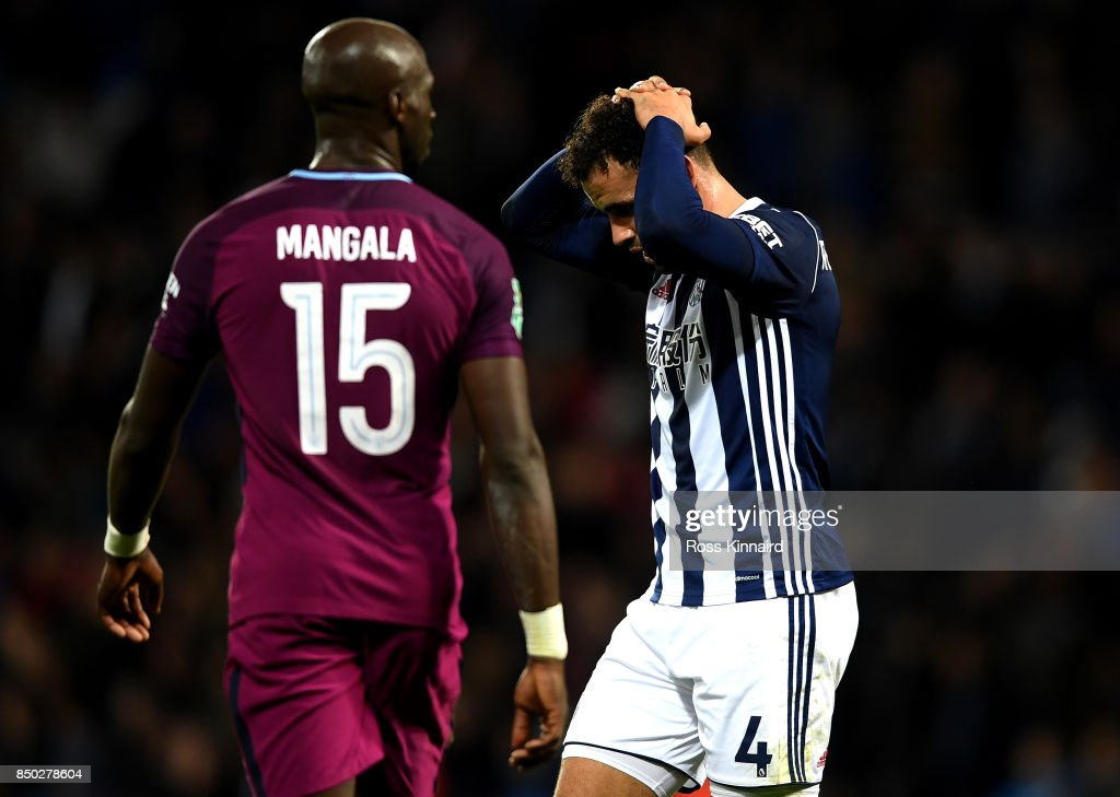 Hal Robson-Kanu of West Bromwich Albion shows dissapointment during the Carabao Cup Third Round match between West Bromwich Albion and Manchester City at The Hawthorns September 20, 2017 in West Bromwich, England.