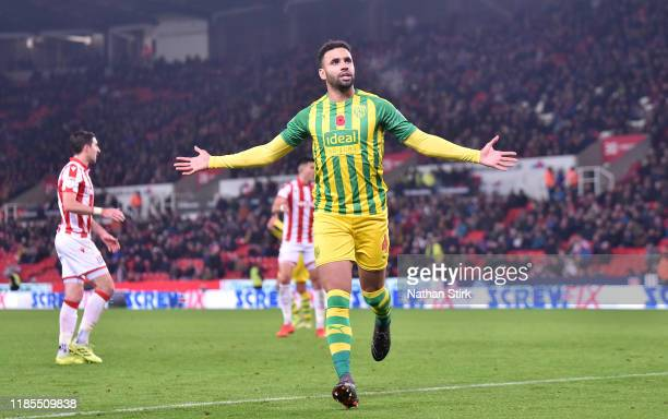 Hal Robson-Kanu of West Bromwich celebrates as he scores the second goal during the Sky Bet Championship match between Stoke City and West Bromwich...