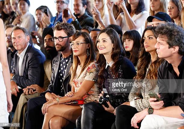 Hal Rubenstein Waris Ahluwalia Brad Goerski Rashida Jones Emmy Rossum and Camila Alves attend the Tory Burch fashion show during MercedesBenz Fashion...