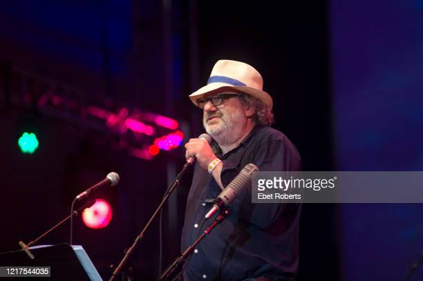 Hal Willner a longtime collaborator and producer speaks at the Lou Reed tribute entitled 'The Bells' in Damrosch Park at Lincoln Center in New York...