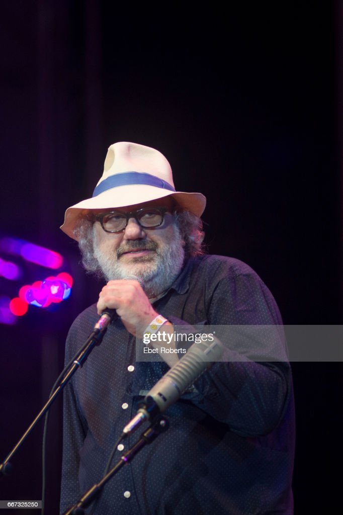 Hal Willner, a longtime collaborator and producer, speaks at the Lou Reed tribute entitled 'The Bells' in Damrosch Park at Lincoln Center in New York City on July 30, 2016.