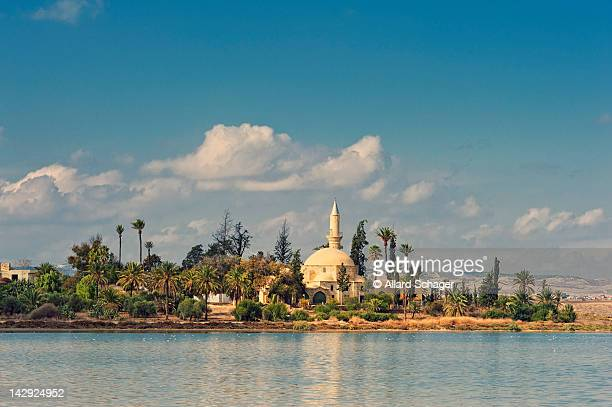 hala sultan tekke mosque - republic of cyprus stock pictures, royalty-free photos & images
