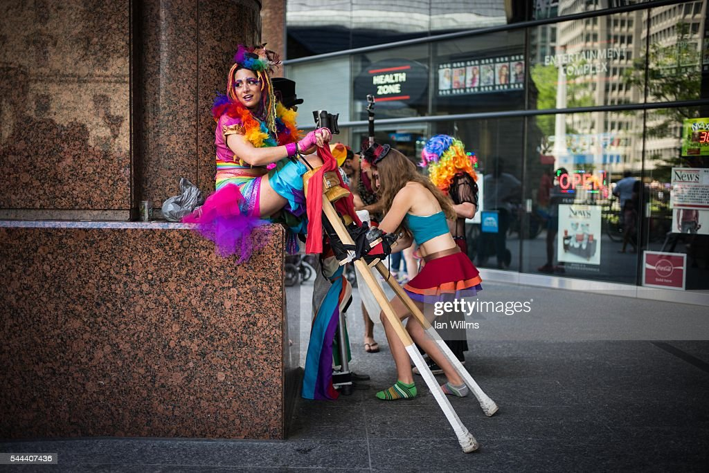 Hala Zabaneh prepares her stilts at the annual Pride Festival parade, July 3, 2016 in Toronto, Ontario, Canada. Prime Minister Justin Trudeau will make history as the first Canadian PM to march in the parade.