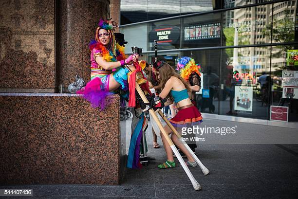 Hala Zabaneh prepares her stilts at the annual Pride Festival parade July 3 2016 in Toronto Ontario Canada Prime Minister Justin Trudeau will make...