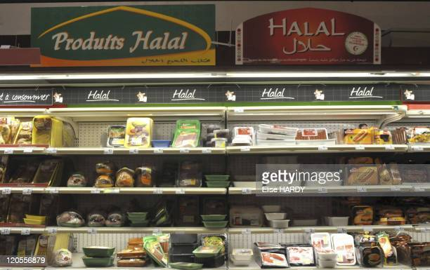 Halal butchers in Fontenay Sous Bois France on October 26 2010 For the meat is halal the animal must not be slaughtered alive and have stunned...