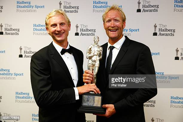 Halberg Award winners Hamish Bond and Eric Murray hold the Halberg Award at the 2015 Halberg Awards at Vector Arena on February 11 2015 in Auckland...