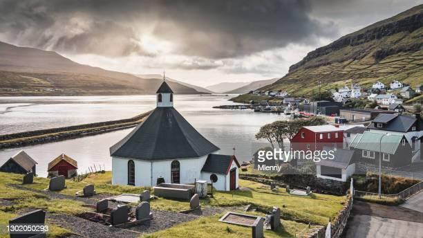 haldarsvik church panorama faroe islands streymoy island - mlenny stock pictures, royalty-free photos & images