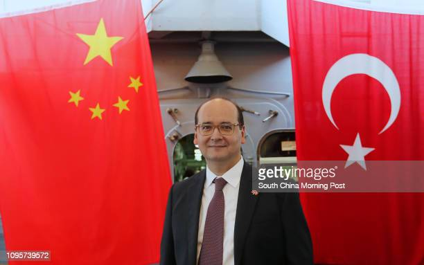 Haldun Tekneci Consul General of Turkey poses for picture as Turkish naval frigate TCG Gediz port visits and docked at China Merchants Wharf Pier in...