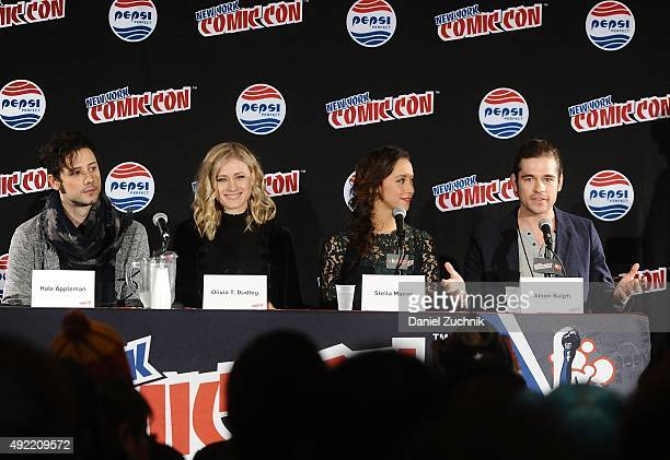 Hale Appleman Olivia T Dudley Stella Maeve and Jason Ralph attend 'The Magicians' panel during New York ComicCon 2015 at The Jacob K Javits...