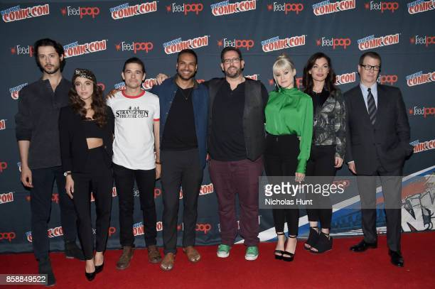 Hale Appleman Stella Maeve Jason Ralph Arjun Gupta Olivia Taylor Dudley and Jade Tailor attend The Magicians Panel during 2017 New York Comic Con Day...