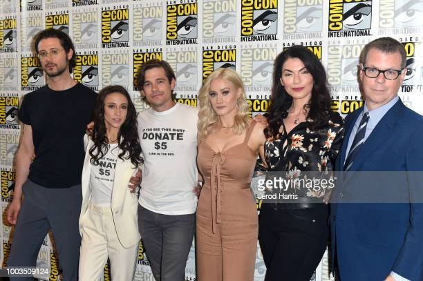 Hale Appleman Stella Maeve Jason Ralph Olivia Dudley Sera Gamble and John McNamara attend the 'The Magicians' Press Line during ComicCon...