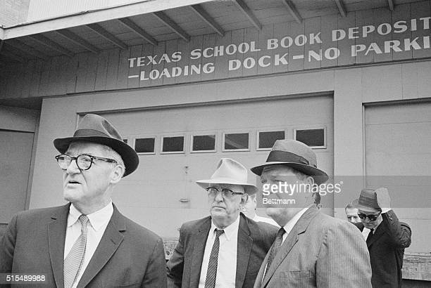 Hale Boggs John Cooper and Richard Russell Warren Commission members leave the Texas School Book Depository after inspecting the President Kennedy...