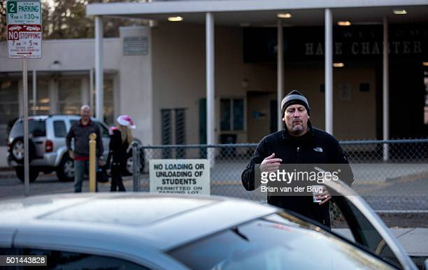 HILLS CALIF TUESDAY DECEMBER 15 2015 Hale Charter Academy principal Chris Perdigao informs a parent who came to drop a student off at school that his...