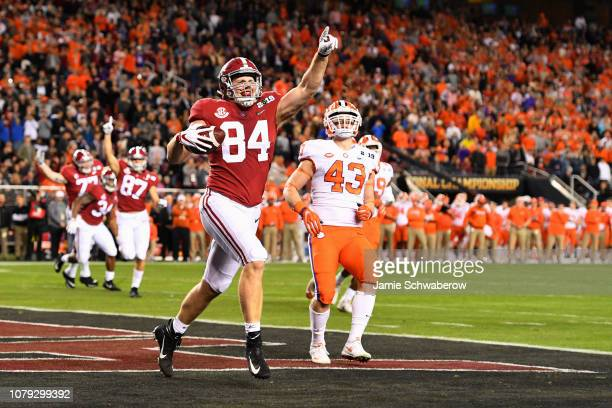 Hale Hentges of the Alabama Crimson Tide celebrates after scoring against the Clemson Tigers during the College Football Playoff National...