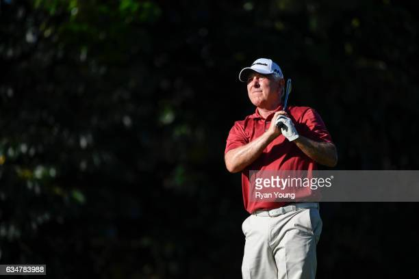 Hale Irwin tees off on the 16th hole during the second round of the PGA TOUR Champions Allianz Championship at The Old Course at Broken Sound on...