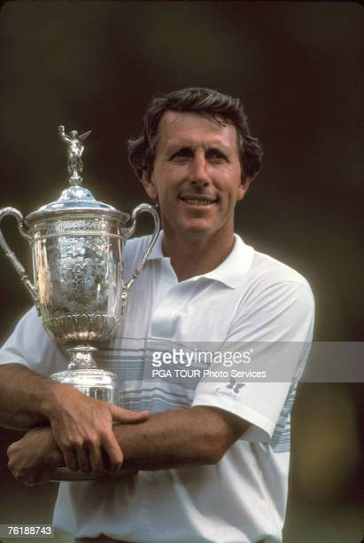 Hale Irwin with trophy during the 1990 U.S. Open at Medinah Country Club, Medinah Illinois. June 1990 Hale Irwin became the oldest US Open winner...