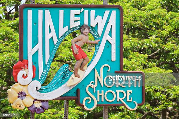 haleiwa sign - haleiwa stock photos and pictures