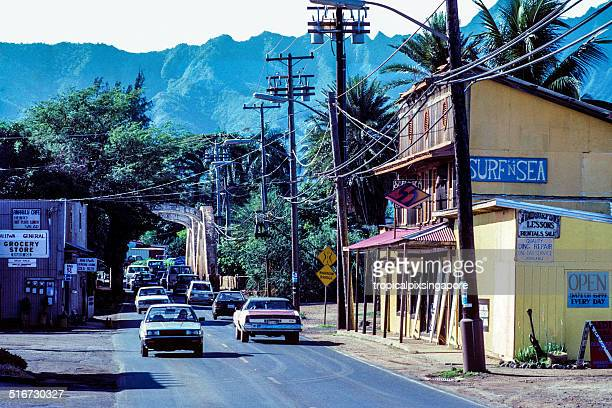 haleiwa town - haleiwa stock photos and pictures