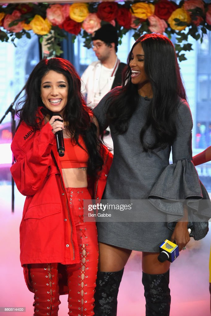 Haley (L) and Ciara speak during the 2017 American Music Awards nominations announcement at Good Morning America Studios on October 12, 2017 in New York City.