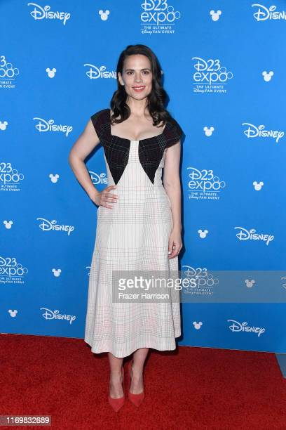 Haley Atwell attends D23 Disney event at Anaheim Convention Center on August 23 2019 in Anaheim California